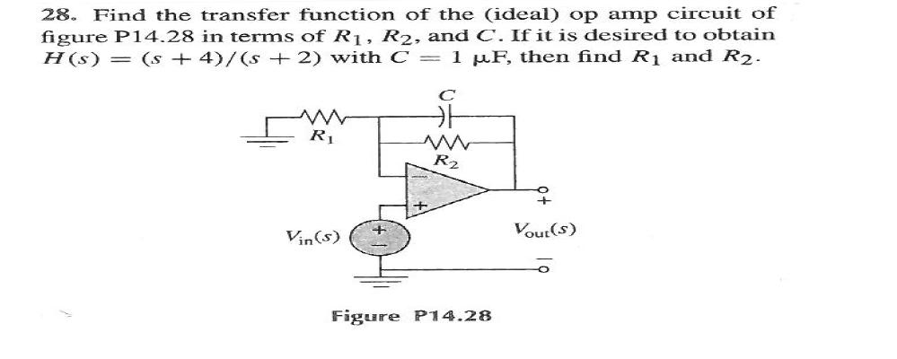 Find the transfer function of the (ideal) op amp c
