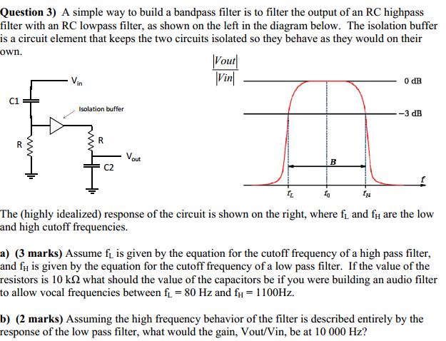 A simple way to build a bandpass filter is to filt
