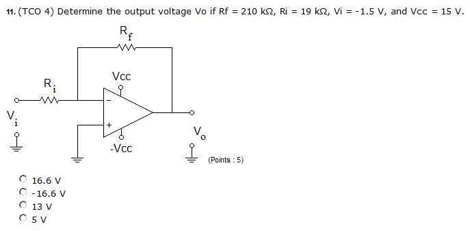 Determine the output voltage Vo if Rf = 210 k ohm,