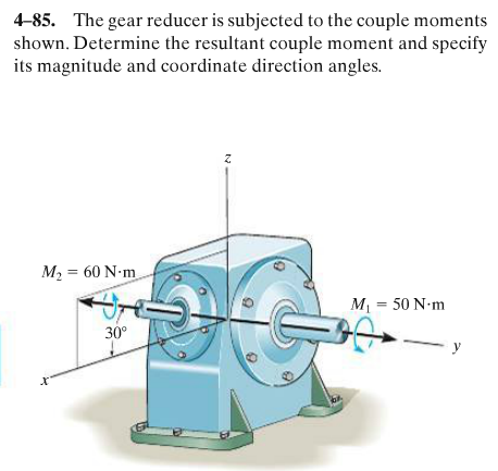 The gear reducer is subjected to the couple moment