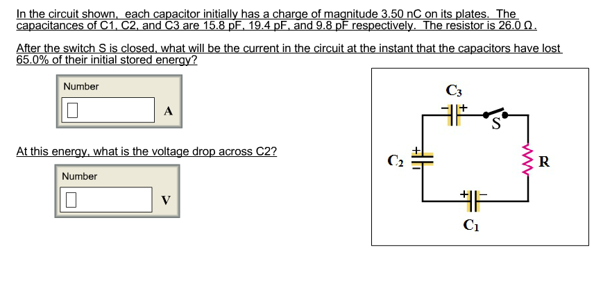 In the circuit shown, each capacitor initially has