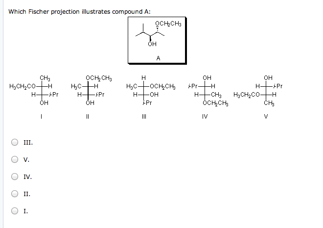 Which Fischer projection illustrates compound A: