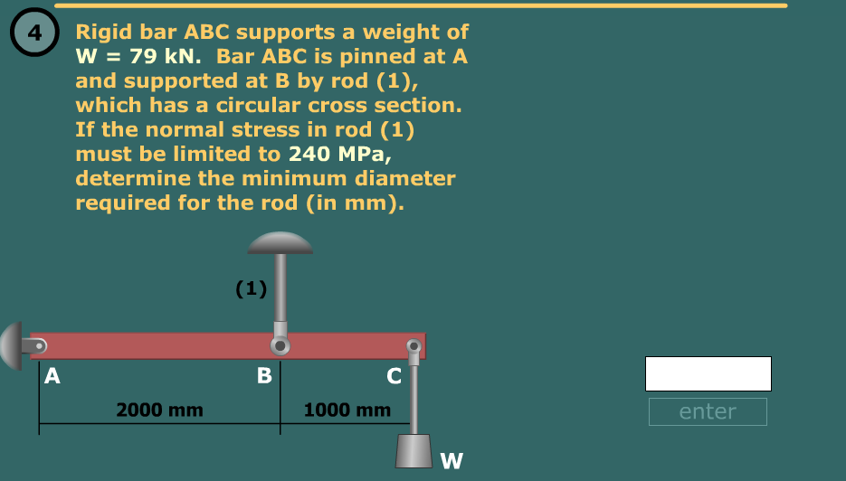 Rigid bar ABC supports a weight of W = 79 kN. Bar