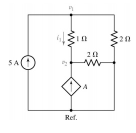 For the circuit shown below, determine the nodal v