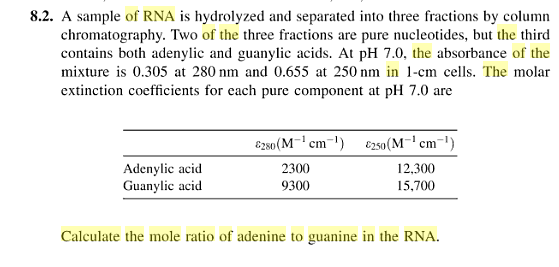A sample of RNA is hydrolyzed and separated into t