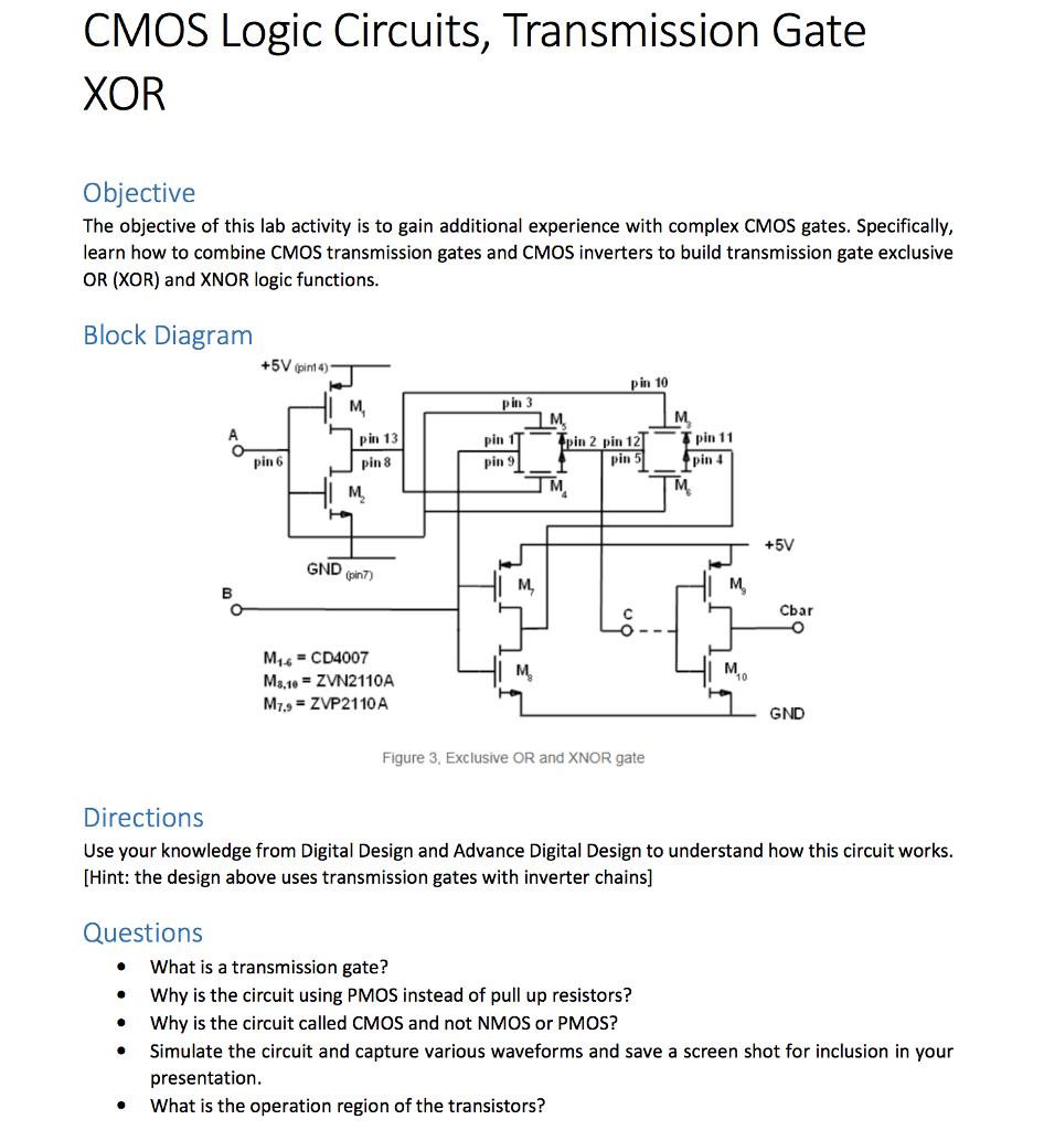 Cmos Logic Circuit For Xor Gate Designs Design Using Lec Diagram Solved Circuits Transmission Objecti