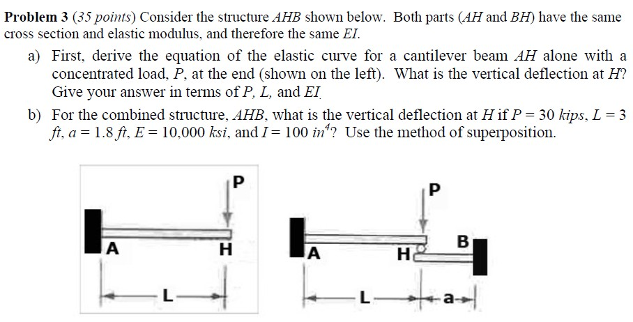 Consider the structure AHB shown below. Both parts