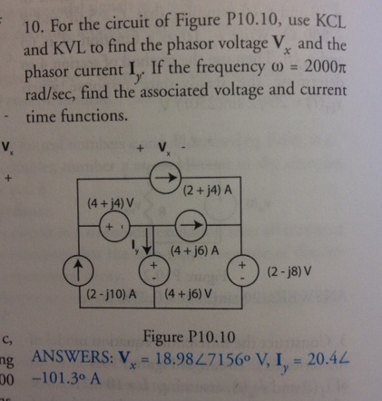 For the circuit of Figure P10.10, use KCL and KVL