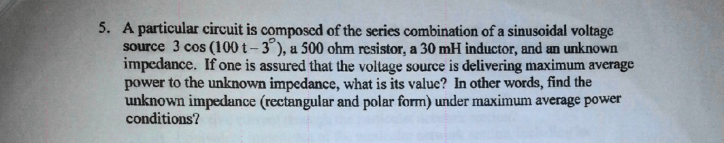 A particular circuit is composed of the series com
