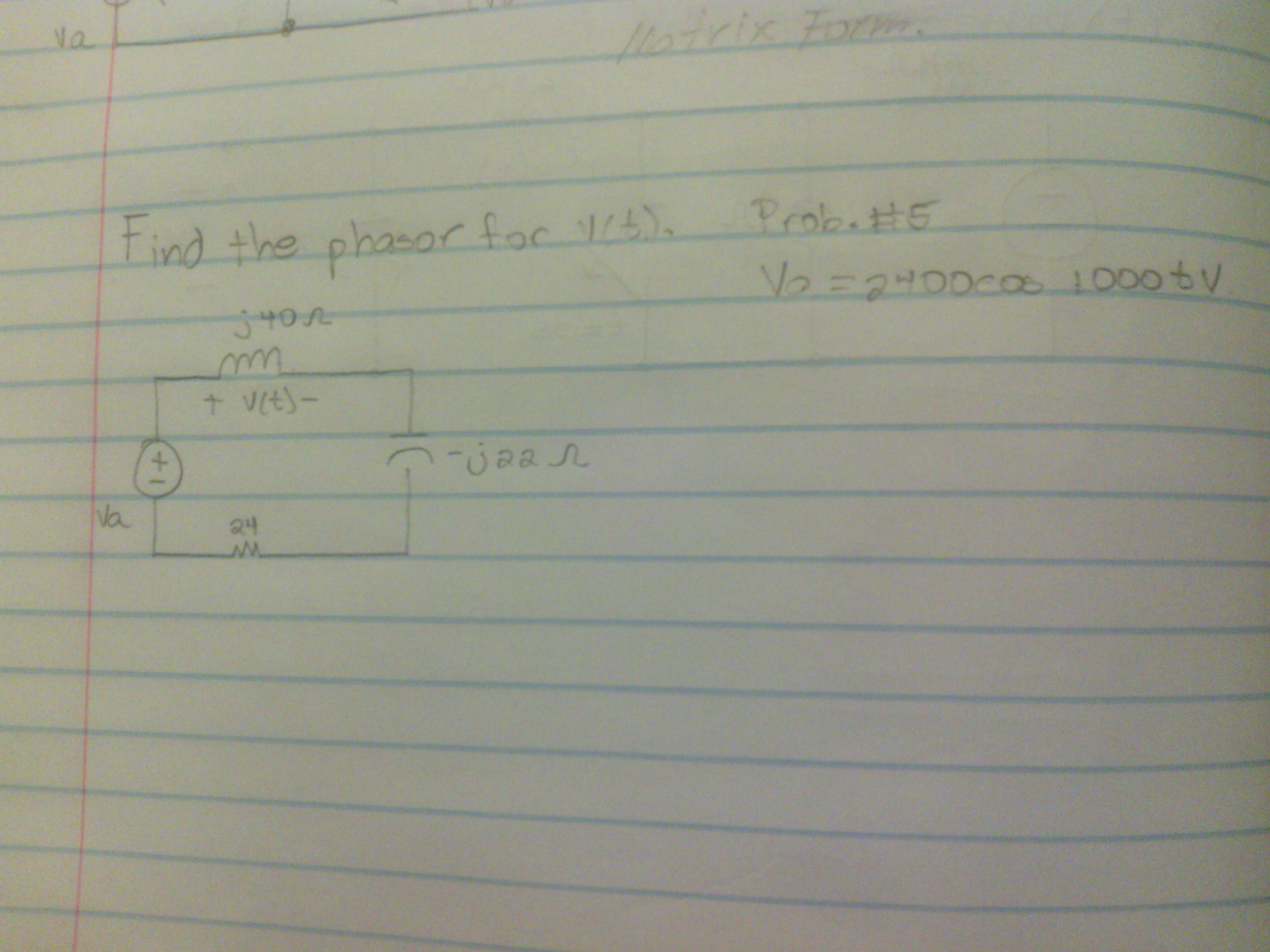 Find the phasor for v(t).