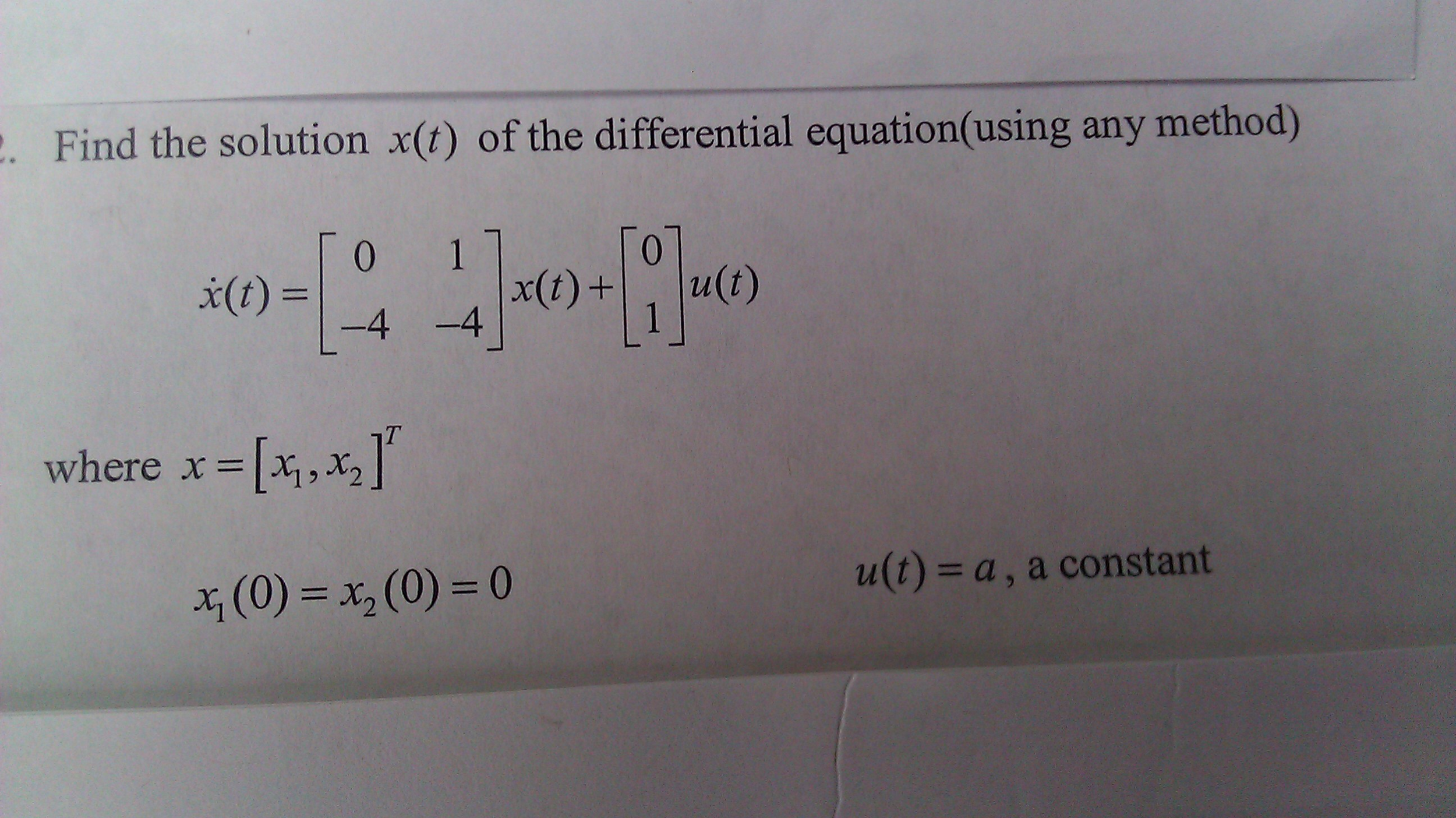 Find the solution x(t) of the differential equatio