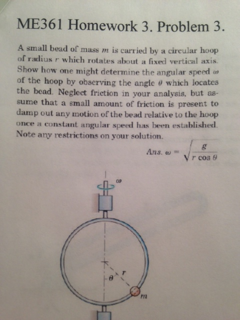 A small bead of mass m is carried by a circular ho