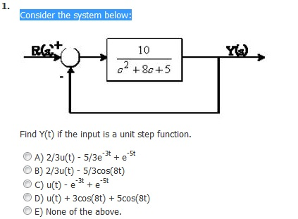 Consider the system below: Find Y(t) if the input
