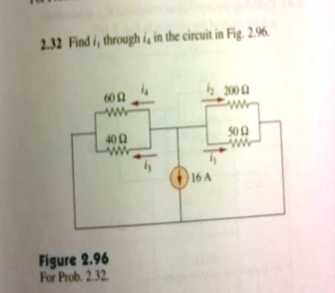 Find i1 through i4 in the circuit in Fig 2. 96. Fi