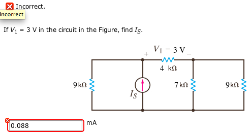 If V1 = 3 V in the circuit in the Figure, find IS.