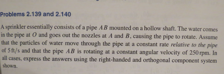 A sprinkler essentially consists of a pipe AB moun