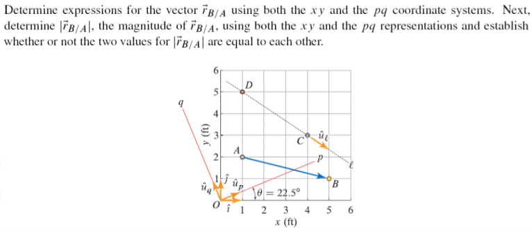 Determine expressions for the vector B/A using bo
