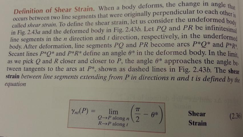 Using the definition of shear strain Eq 2.36, and