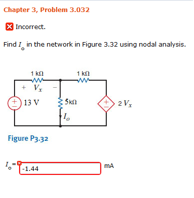Find I0 in the network in Figure 3.32 using nodal