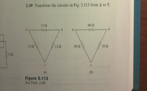 Transform the circuits in Fig. 2.113 from Delta to