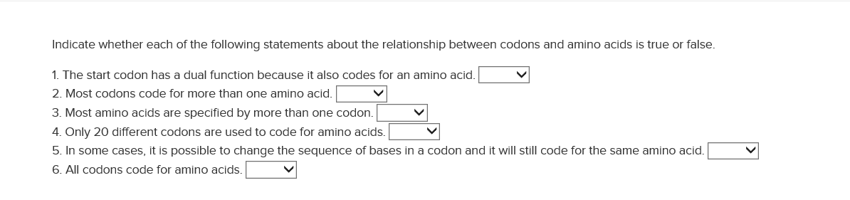 codon and amino acid relationship test