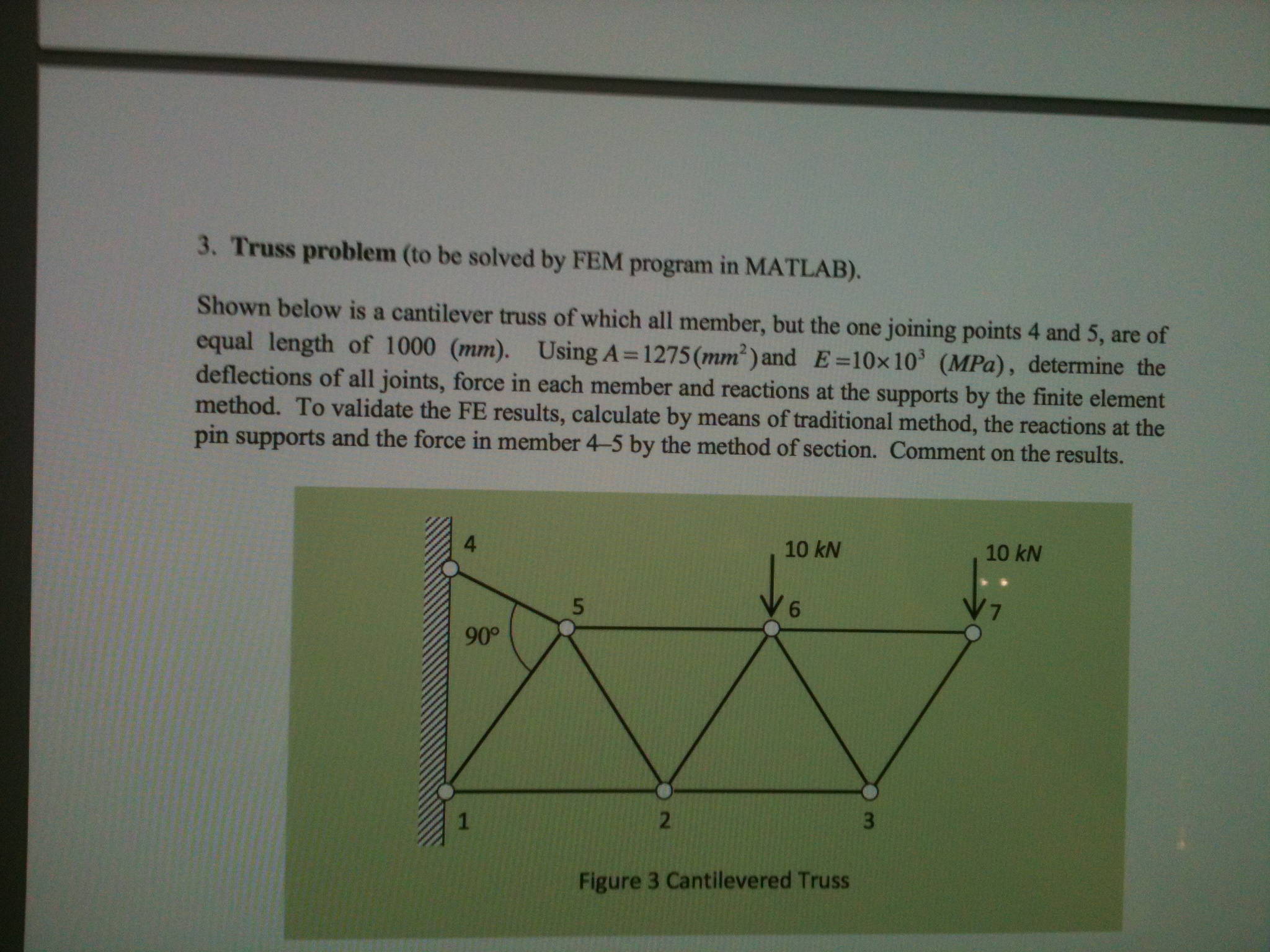 Truss problem (to be solved by FEM programs in MAT