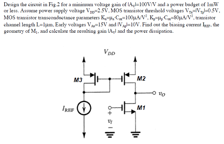 Design the circuit in for a minimum voltage gain o