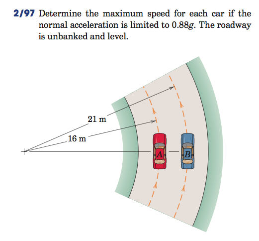 Determine the maximum speed for each car if the no