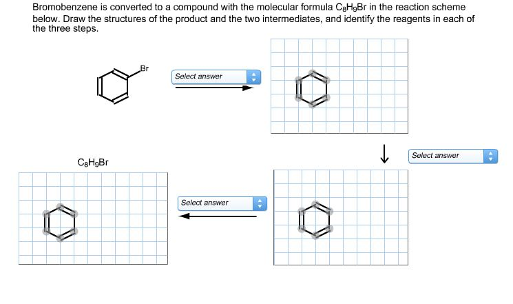 solved bromobenzene is converted to a compound with the m