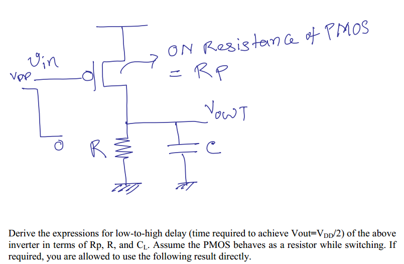 Derive the expressions for low-to-high delay (ti