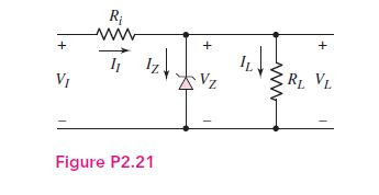 Consider the Zener diode circuit shown. Let VI = 6