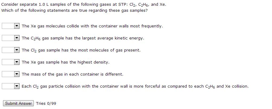 Consider Separate 1.0 L Samples Of The Following G...   Chegg.com