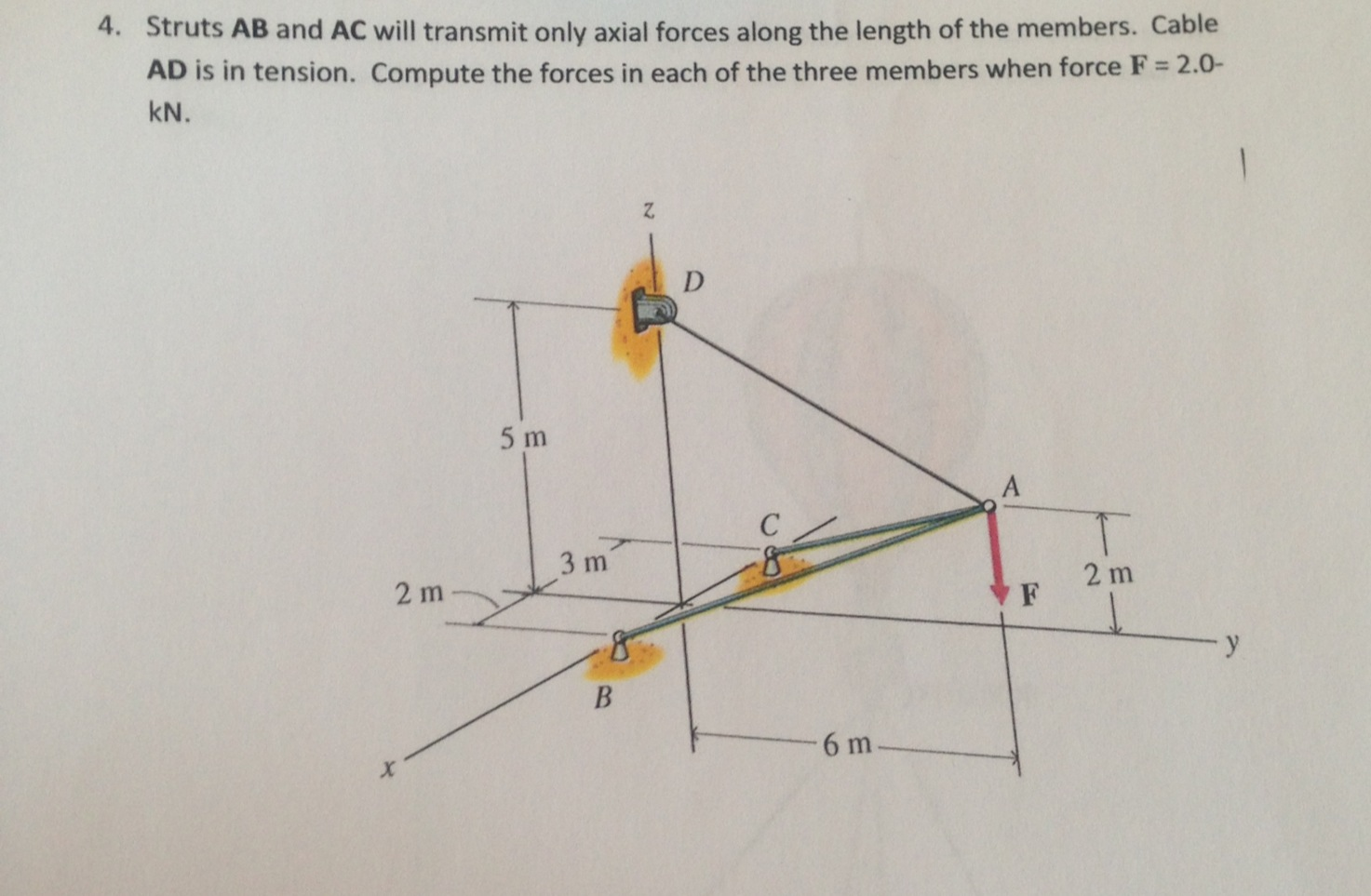 Struts AB and AC will transmit only axial forces a
