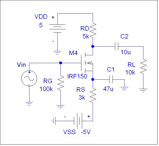 For the NMOS CS amplifier of Fig. 2, Assume, BS170