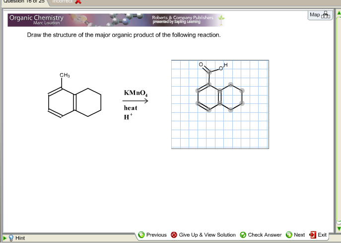 Draw the structure of the major organic product of