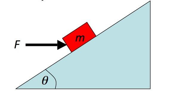 A block with mass m = 5.0 kg sits on an inclined p