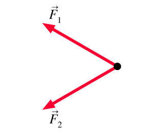 The figure shows two forces acting on an object at