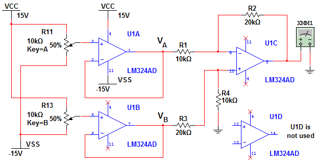Figure 1 shows the circuit of a difference amplifi