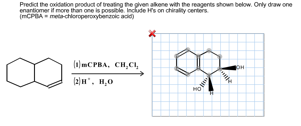 Predict the oxidation product of treating the give
