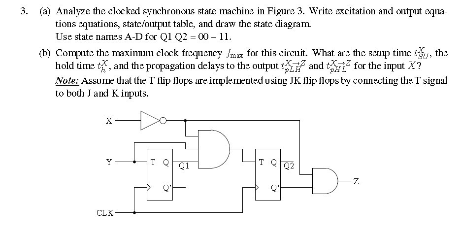 Analyze the clocked synchronous state machine in F