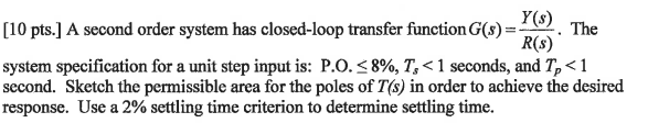 A second order system has closed-loop transfer fun