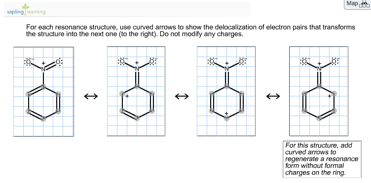 For each resonance structure, use curved arrows to