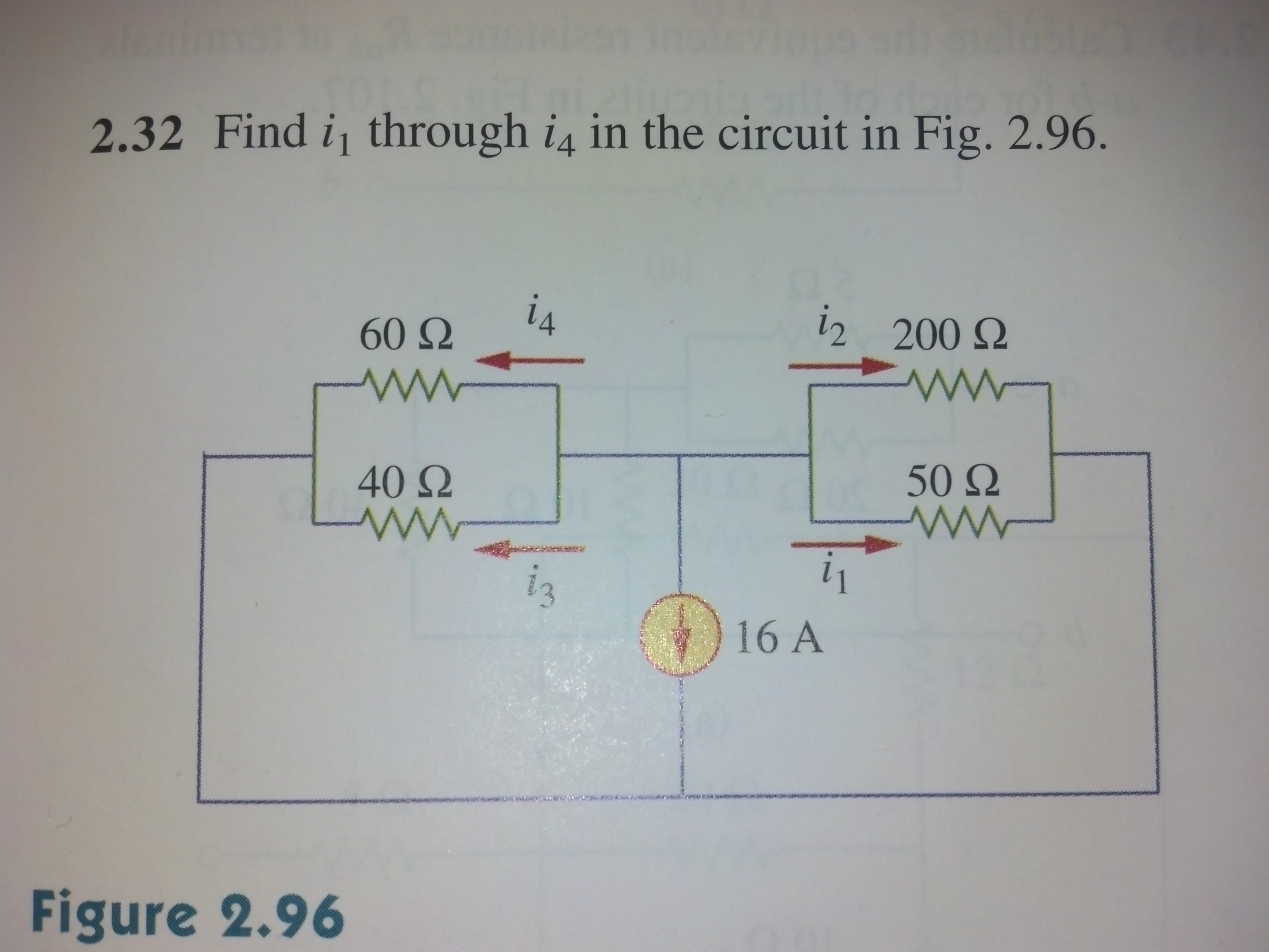 Find ix through i4 in the circuit in Fig. 2.96.
