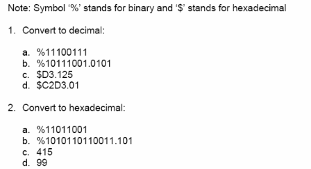 Symbol '%' stands for binary and '$' stands for he
