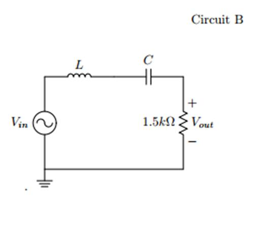 . For circuit B Choose values for the inductor and