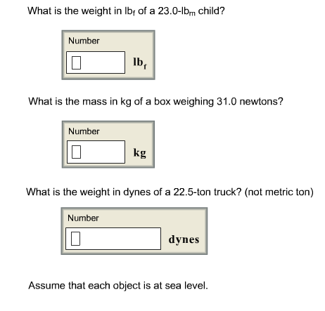 What is the weight in Ibf of a 23.0-lbm child? Wh