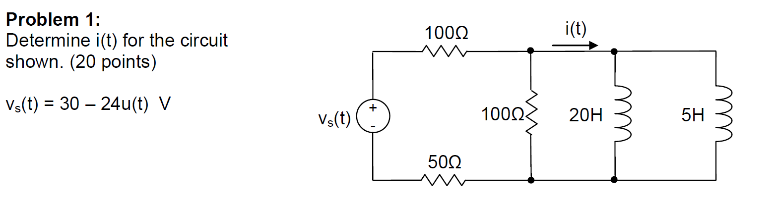 Determine i(t) for the circuit shown. Vs(t) = 30