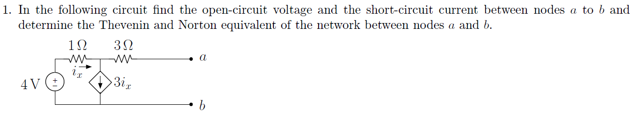 In the following circuit find the open-circuit vol