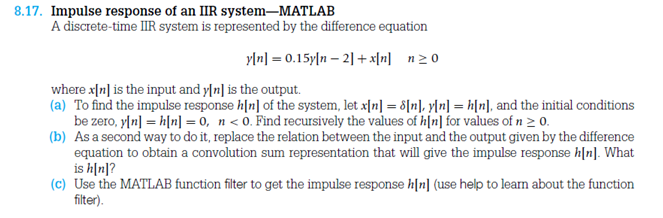 Impulse response of an IIR system-MATLAB A discret