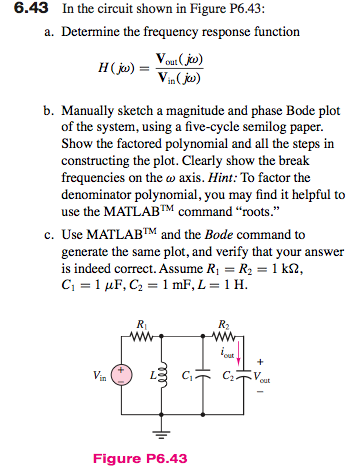 In the circuit shown in Figure P6.43: Determine t